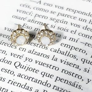 DAINTY AND TINY PAVE WHITE PEARL STUDS